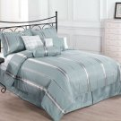 FINAL SALE - Park Avenue QUEEN Size Bed 7pc Comforter Set Blue, Gold Bed Cover