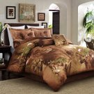 Lion Print Duvet Cover Set 100% Cotton Brown Reversible Twin Full Queen Size Bed