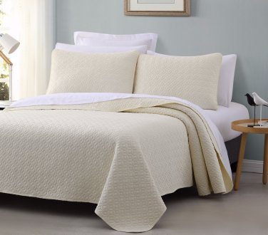Titan 3pc Quilted Bedspread Set Ivory Color Stitched pattern 100% Cotton Filling