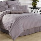 Calico 7pc QUEEN Comforter Set Light Purple Damask Stripe 100% Cotton 350 Thread