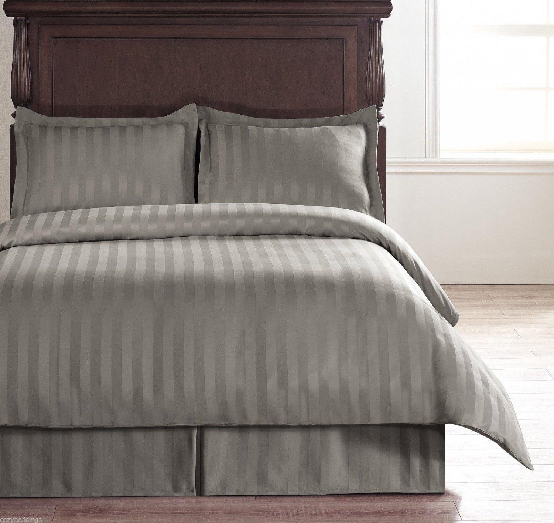 Damask Stripe Light Grey 5pc QUEEN Size Duvet Set with Polyester Duvet Insert