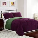 PURPLE/GREEN 2pc TWIN Size Bed Reversible Down Alternative Comforter Set Bedding