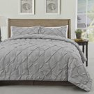 Master 3pc Pinch Pleat Comforter Set, Light Grey Pintuck Pattern Bedding set