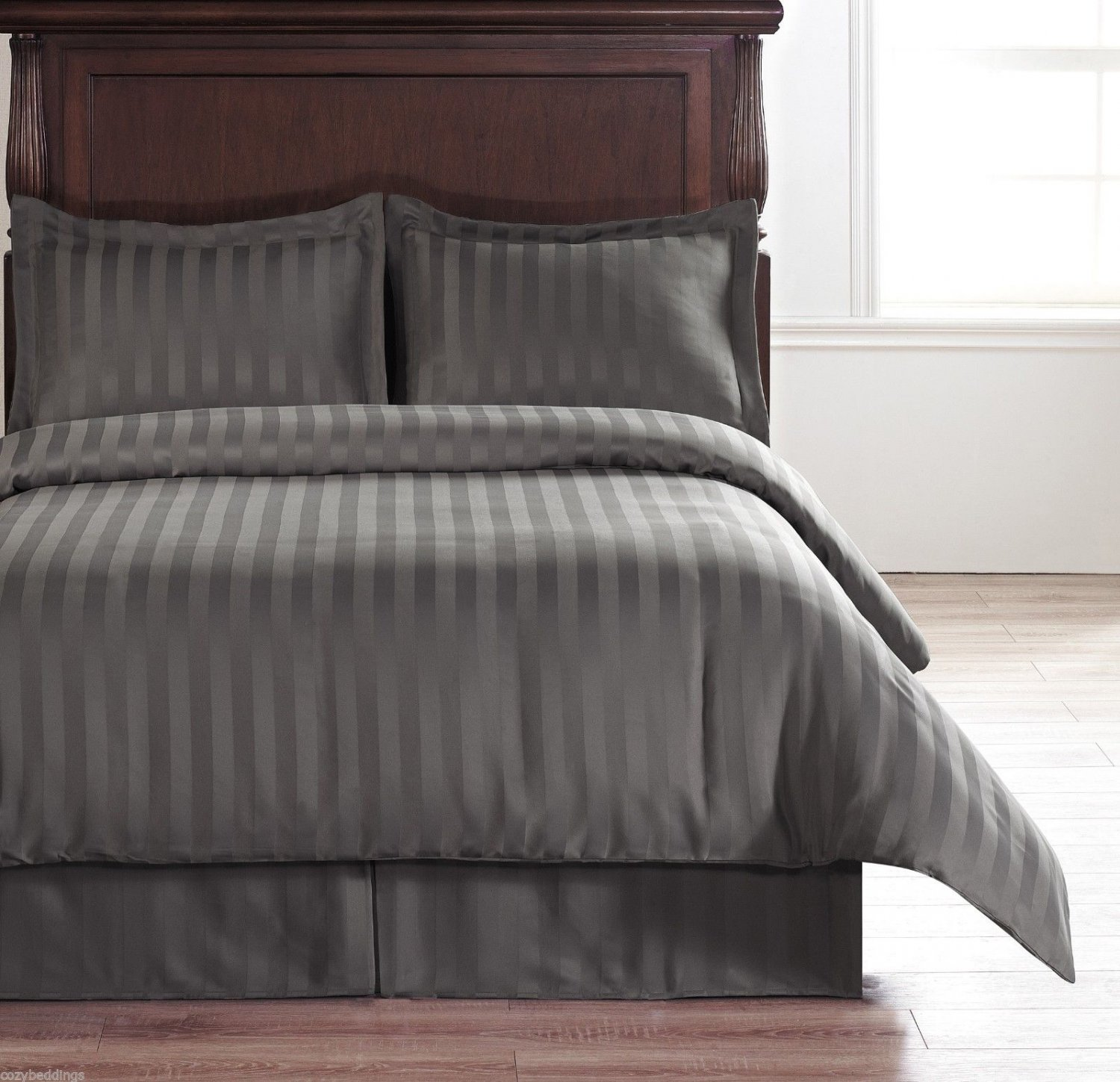 Hotel Collection Charcoal Grey 5pc Reversible Duvet Set Full, Queen Bed Size