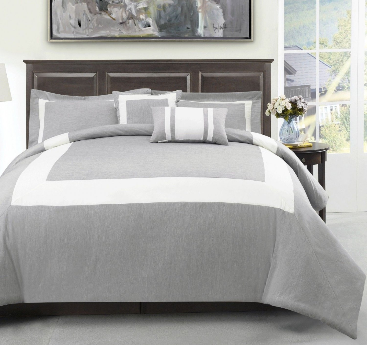 Forter 5pc Comforter Set, Light Grey, Ivory Stirpe Bedding, All size Bed Cover