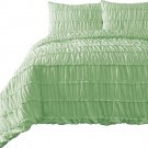 Ruched MINT 3pc Comforter Set Ruffled Pinch pleat Bed Cover Bedddings All Size