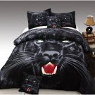 TWIN Size Black Panther 3pc Duvet Cover Set 100% Cotton Reversible Animal Set