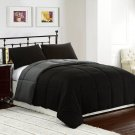 BLACK/GREY 3pc Comforter Set Reversible Bedding Down Alternative Bed Cover Set