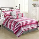 FINAL SALE Retro 7pc Comforter Set Red, Pink, Grey yarn-dyed Jacquard Bed Cover