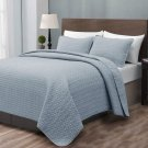Madison Quilted Bedspread Set Stone Blue Coverlet Light Weight Bed Cover Set