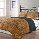 ANIMALIA Reversible Brown Black Leopard Print Comforter Set TWIN FULL/QUEEN KING