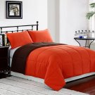 ORANGE/BROWN 3pc FULL/QUEEN Size Bed Reversible Down Alternative Comforter Set