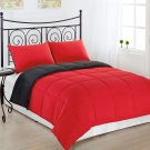 GREY/RED 3pc KING Size Bed Reversible Down Alternative Comforter Set Bedding