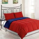 Red/Navy 3pc KING Size Bed Reversible Down Alternative Comforter Set Bedding