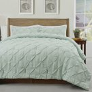 Master 3pc Pinch Pleat Comforter Set, Aqua Greeen Pintuck Bedding  All sizes