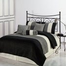 7pc QUEEN Size Bed Amber Jacquard Stripes Comforter Set Black Grey Cream Bedding