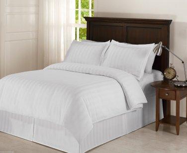 Damask Stripe WHITE 5pc KING Size Bed Duvet Set with Polyester Duvet Insert