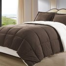 Borrego Brown Color Down Alternative 3pc Comforter Set Sherpa Soft Fabric Bed