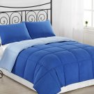Light Blue/Royal Blue 3pc Comforter Set Reversible Bedding Down Alternative Bed