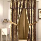 Vintage Stripe Window Curtain Gold, Burgundy, Floral Drape Set Valance 2 Panel