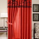 Violeta RED Black Floral Flocking Window Curtain Drape Set with Valance 2 Panel