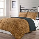 Animalia Full/Queen Size 3pc Comforter Set Reversible Brown Black Leopard Print