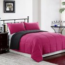 GREY/PINK 3pc Comforter Set Reversible Bedding Down Alternative Bed Cover Set