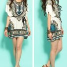 Blue - Women Summer Fashion Casual Short Dress Loose Short Sleeve Batwing Ethic Pattern Wholesale