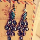Wholesale 15 pairs Retro Rhinestone Peacock Women Fashion Earrings Hook