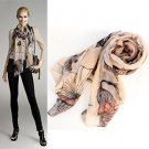 Wholesale 3pcs Mixed Colors Large Size Begonia Flower Ink Long Fashion Women Scarves Shawl Autumn