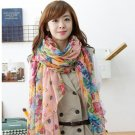 Wholesale 3pcs Cotton Linen Women Ladies Flower Print Fashion Shawl Scarf pink white yellow