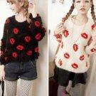 Black - Fashion Women Girls Pullover Sweater Mohair Fluffy Fuzzy Lips Autumn Winter