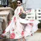 Fashion Women Bohemia Beach Floral Flower Maxi Long Chiffon Dresses Summer Sleeveless Wholesale