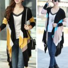 Yellow Fashion Women Striped Knitwear Cardigan Sweater Long Irregular  Long Sleeve Spring Autumn