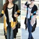 Khaki Fashion Women Striped Knitwear Cardigan Sweater Long Irregular  Long Sleeve Spring Autumn