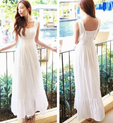 White Women Girls Casual Bohemia Beach Dress Chiffon Long Ruffle Sleeveless Square Collar