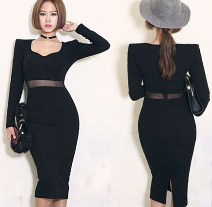 M Women Casual Black Elegant Sexy Dress Knee Length Pencil Wrapped Bodycon Long Sleeve V Neck