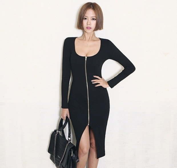 M Fashion Women Casual Sexy Dress Knee Length Split Zipper Wrapped Pencil Bodycon Spring Autumn