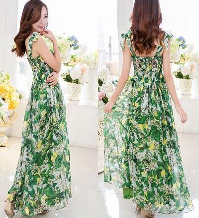 M Women Girls Casual Bohemia Beach Dress Chiffon Green Floral Print Long Spaghetti Strap Slash Neck