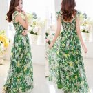 M Women Girls Casual Bohemia Beach Dress Chiffon Green Floral Print Long Spaghetti Strap Slash Neck
