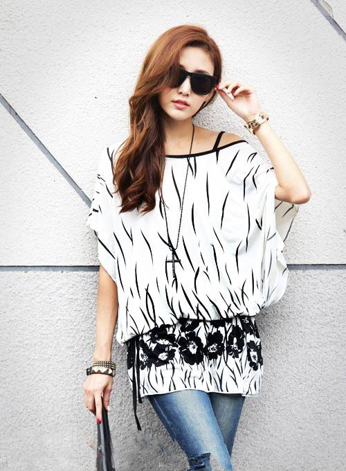 Women White Tops Blouse T Shirts Loose Plus Size Tunic Batwing Short Sleeve Summer