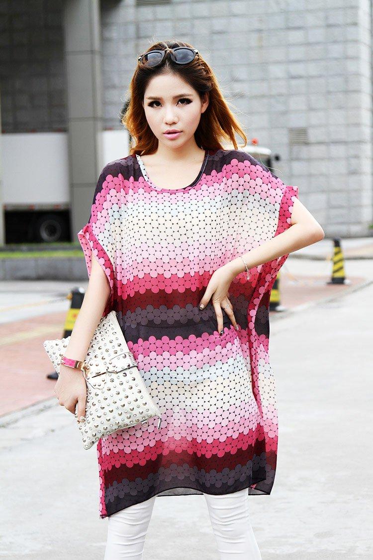 Women Casual Chiffon Tops Blouse Shirts Gradient Dots Print Loose Plus Size Short Sleeve Summer