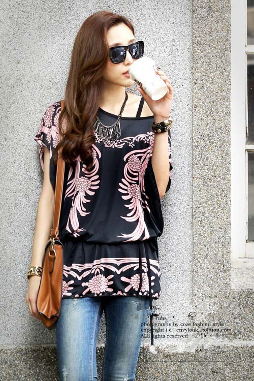 Women Long Tops Blouse T Shirts Loose Tunic Plus Size Black Phoenix Print Short Batwing Sleeve