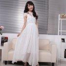 Women Elegant Gown Chiffon Lace Long Maxi Dresses Evening Party Prom Bridemaid Short Sleeve