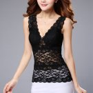 Black Fashion Women Casual Sexy Lace Tank Tops Blouse Sleeveless V Neck