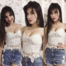 White Fashion Women Clubwear Casual Sexy Lace  Tank Crop Tops Blouse