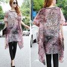 Fashion Women Ladies Casual Loose Oversized Plus Size Leopard Floral Chiffon Long Shirts Tops