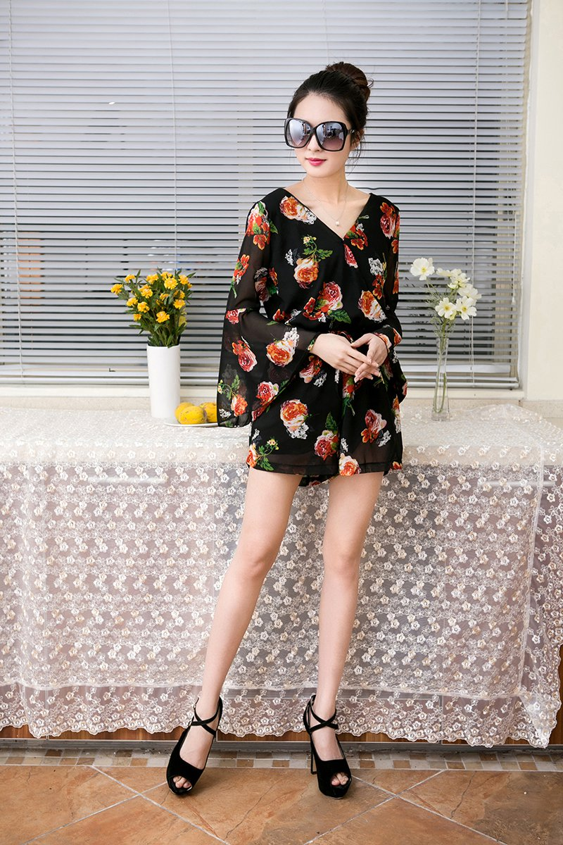 Black M Women Girls Casual Short Jumpsuits Romper Chiffon Floral V Neck Flare Sleeve