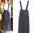 Black Grid Plaid Women Girls Casual Chiffon Long Suspender Skirts Preppy Style