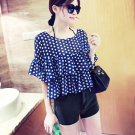 Royal Blue Casual Women Girls Chiffon Short Dots Shirts Tops Blouse Tiered Ruffle